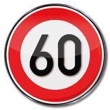 Speed limit 60 kmh Royalty Free Stock Images