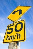 Speed limit left turn Stock Photos