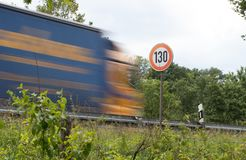 Speed limit 130 on a motorway royalty free stock photos