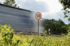Speed limit 130 on a motorway royalty free stock images