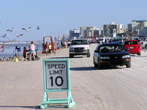 Speed limit 10 mph seen on the beach in Daytona Beach Royalty Free Stock Photos