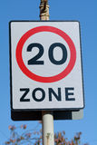 Speed limit - 20 mph zone sign Royalty Free Stock Photography