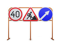 Speed limit, repair work, detour road signs on a white backgroun. D. 3d rendering Stock Photo