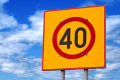 Speed limit road sign above blue sky Royalty Free Stock Photos