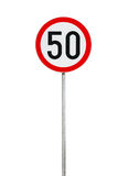 Speed limit road sign isolated on white Royalty Free Stock Image