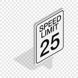 Speed limit road sign isometric icon. Speed limit traffic road sign isometric icon 3d on a transparent background vector illustration Stock Photography