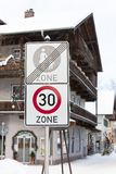 Speed limit road sign in a town Royalty Free Stock Photo