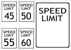 Speed limit road signs Stock Image