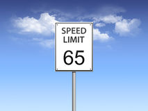 Speed limit sign. Road sign showing 65 mph speed limit royalty free illustration