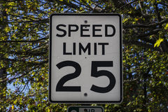Speed Limit Sign in Bar Harbor, 2015 royalty free stock images