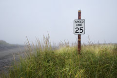 Speed limit sign on beach Royalty Free Stock Images