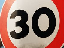 30 speed limit sign closeup. 30 speed limit sign close up royalty free stock images