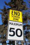 Speed Limit Sign at End of School Zone Royalty Free Stock Photography