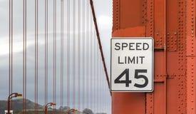 Speed limit sign on Golden Gate Bridge Royalty Free Stock Image