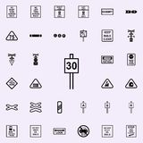 speed limit sign 30 icon. Railway Warnings icons universal set for web and mobile royalty free illustration
