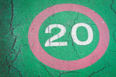 Speed limit sign 20 kilometers on bike lane Stock Image