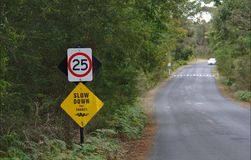Speed limit sign of 25 km per hour stock photos