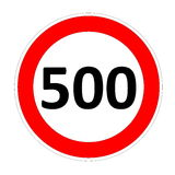 Speed limit sign for 500 Royalty Free Stock Photos