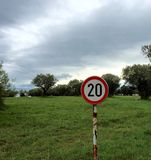 Speed limit 20. Speed limit sign 20 - relax and enjoy the holidays Royalty Free Stock Photo