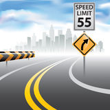 Speed limit sign. Road to horizon with a speed limit sign on a side. Vector illustration Stock Photos