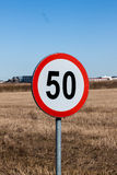 Speed Limit Sign in Rural Setting Stock Images