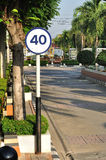 Speed limit sign for safety in public area Stock Photo