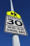 Speed Limit Sign in School Zone Royalty Free Stock Images