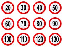 Speed Limit Sign - Set of circle speed limit signs with red border round. Isolated on white background vector illustration