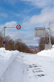 Speed limit sign,the snowy road Stock Image