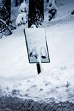 Speed limit sign in a storm. 40 MPH speed limit sign in a snowstorm Royalty Free Stock Photography