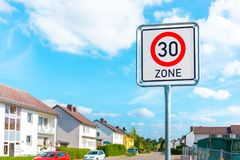 Speed limit sign to 30 Royalty Free Stock Photo