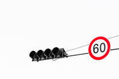 Speed Limit Sign and Traffic Light on White Background (Isolated Stock Photos