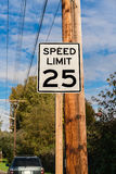Speed limit signage. Speed limited to twenty-five miles per hour Stock Image