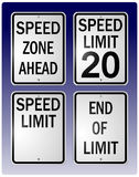 Speed limit signs. Vector illustrations of speed limit, speed zone, and end of limit signs vector illustration