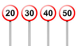 Speed limit signs. Illustration depicting four speed limit road signs arranged over white Royalty Free Stock Photos