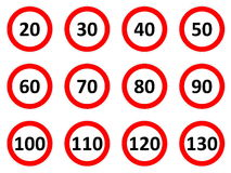 Speed limit signs. Speed limitation road signs in white background Stock Photo