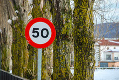 Speed limit. Spanish traffic sign speed limit Royalty Free Stock Photography