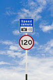 Speed limit and speed camera signpost Royalty Free Stock Images