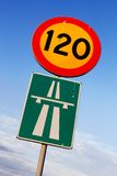 Speed limit 120. Swedish road signs speed limit 120 and motorway on blue sky with clouds Stock Images