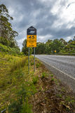 Speed limit for Tasmanian Devil crossing Royalty Free Stock Images