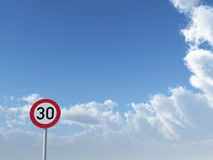 Speed limit thirty. Roadsign speed limit thirty under cloudy blue sky - 3d illustration royalty free illustration