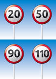 Speed limit traffic road board. Isolated  speed limit traffic road board with reflection and background Royalty Free Stock Image
