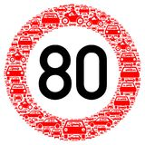 Speed limit traffic sign 80 Royalty Free Stock Images