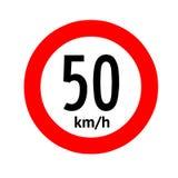 Speed limit traffic sign 50. Illustration Stock Photo
