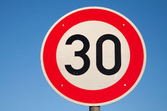 Speed limit traffic sign 30 Royalty Free Stock Photos