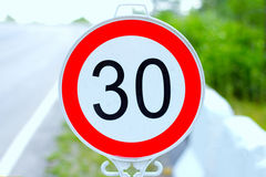 Speed Limit Traffic Sign 30 KM/H Royalty Free Stock Photo