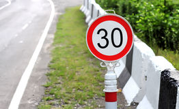 Speed Limit Traffic Sign 30 KM/H Royalty Free Stock Photography