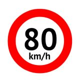 Speed limit traffic sign 80 Royalty Free Stock Photography