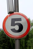 Speed Limit Zone Warning Road Sign, Isolated Prohibitive 5 Km Kilometer Stock Photo