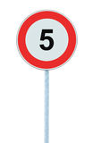 Speed Limit Zone Warning Road Sign, Isolated Prohibitive 5 Km Kilometre Kilometer Maximum Traffic Limitation Order, Red Circle Stock Photo